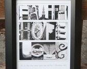 Letter Prints Collage (FAITH HOPE LOVE) 11x14 with frame