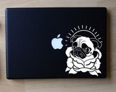 Angelina the Pug Traditional Tattoo Art Decal Macbook Laptop
