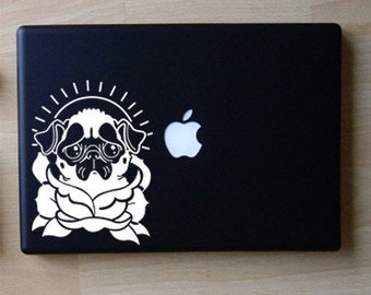 Pug Traditional Tattoo Art Decal Macbook Laptop