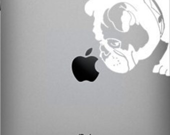 Brit The English Bulldog Sniffs Apple Decal for iPad 1 or iPad 2