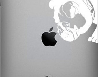 Brit The English Bulldog Sniffs Apple Decal for iPad 1 or iPad 2