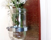 RESERVED for kjmmc- 2(TWO) Reclaimed Red Barnwood Wall Sconces with Ball Jar Vases