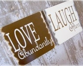 LOVE and LAUGH Duo Inspiration Signs- Shabby Chic Typography Sign-Chocolate Brown and Linen White