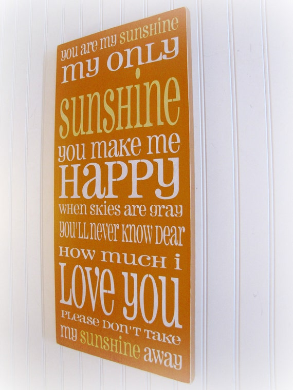 You Are My Sunshine Shabby Chic Typography Sign-Orange, Yellow, White