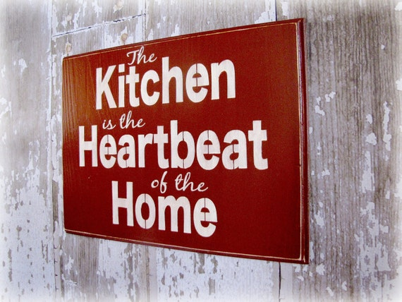 The Kitchen is the Heartbeat of this Home Shabby Chic Typography Sign- Kitchen Wall Art