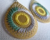 AI EMBROIDERED EARRINGS - HELLO YELLOW