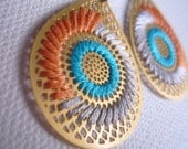 AI Embroidered Earrings - TURQUOISE