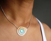 AI Mini Embroidered Necklace - TURQUOISE