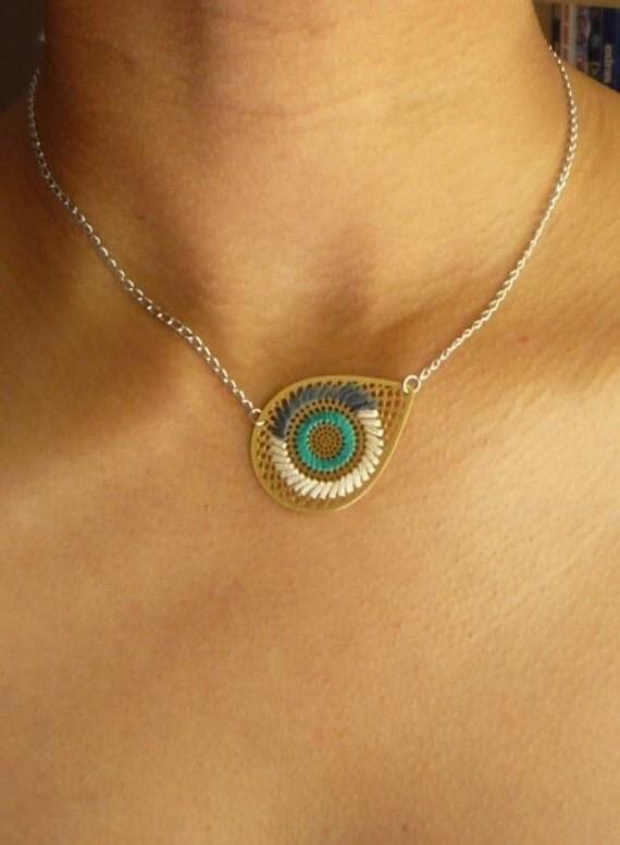 AI Mini Embroidered Necklace- AQUAMARINE