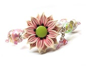 Pink Lace - Woven Wire Beaded Bracelet - elegant handmade artisan flower focal in pastel pink
