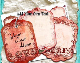 EDiTaBLe - Love & Cherish Digital Labels - set of 8 print-your-own