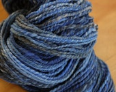 REDUCED Hand Dyed Punta Wool Two Ply Hand Spun Yarn in Electric Blues
