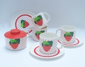 Vintage Toys Plastic Dishes with Strawberries Treasury Pick on Etsy