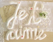 Je T Aime  Love Sign Re purposed Vintage Linen Wedding Eco Chic Decoration Photo Prop Made to Order by Mycherrytree