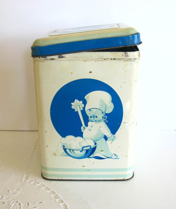 Mid Century  Large Vintage Tin Something Old and Blue on Etsy