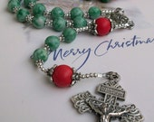RARE BEAUTIFUL CHRISTMAS Catholic Rosary with Green Jade and Silver Accents