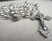 Handmade Mens Silver Rosary Necklace