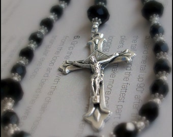 Black Rosary Necklace in Crystal and Silver