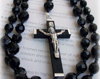 Mens Black Chunky Rosary Necklace with Black Czech Fire Polished Beads and Black Crucifix-