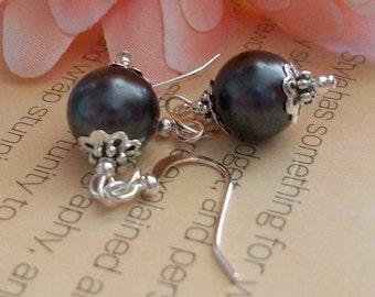 Black Pearl and Silver Dangle Earrings