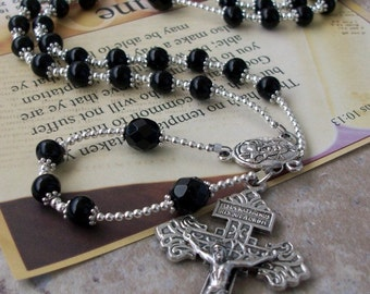 CLASSIC Mens Black Catholic Rosary Necklace with Silver and Crystal Accents