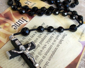 STUNNING Men's All Black Crystal Rosary Necklace- Ready to ship