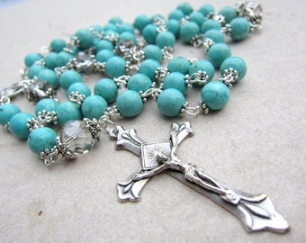 Blue Turquoise Rosary Beads with Crystal and Silver