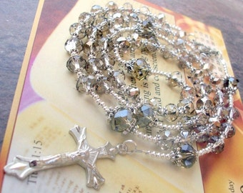 Handmade Clear Crystal Rosary Beads with Silver