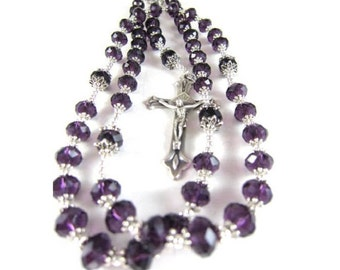 Amethyst Crystal Rosary Beads with Silver