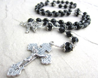 Mens Black Rosary Necklace in Crystal and Silver Devine Mercy