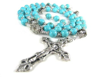 Blue Turquoise Rosary with Crystal and Silver accents