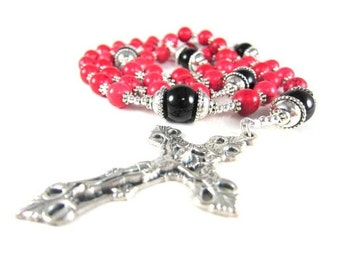 Red Turquoise Rosary Beads with Black Onyx and Silver Accents