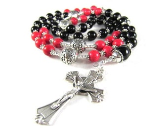 Black Onyx and Red Turquoise Rosary Beads with Silver