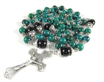 Green Azurite Gemstone Rosary with Black Onyx and Silver Accents