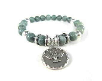 Russian Green Jade Spiritual Stretch Bracelet with Dove, Holy Spirit