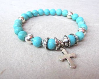 Natural Turquoise Spiritual Cross Beaded Bracelet, Stretch, Stackable