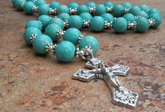 GREAT PROTECTOR Ocean Blue Turquoise Rosary Cross Necklace with Silver
