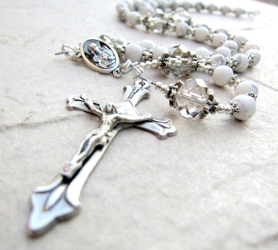 White Rosary Necklace in Silver Crystal and Howlite Gemstone Handmade