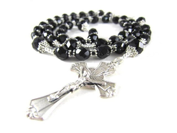Black Crystal Rosary Beads with Silver, Devine Mercy