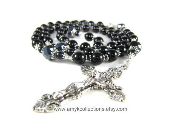 Mens Black Rosary Beads in Black Onyx and Crystal