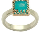 Kingdom, Ethnic sterling silver and rose gold ring inlaid turquoise quartz.