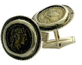 Bronze coin, Sterling silver Men's cuff links, men accessories, twotone cuff links, gift for men, fathers day - Escape C5009 .