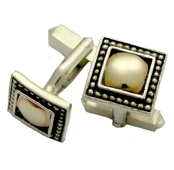 Two tones square Cuff Links, sterling silver gold cuff links, groom cuff links, rustic silver cuff links, dotted cuff links - Jupiter C0280