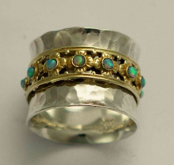 RESERVED TO Sandra  - WITH SMOKY QZ - PAYMENT 1 - New beginnings 2-  wide sterling silver band with 9K yellow gold spinner inlaid opals.