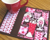 Hot Cocoa Valentines Hearts Mug Rugs - Set of 2