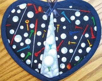Golf Equipment on Navy Potholders - Set of 2