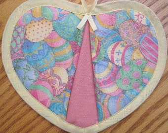Sparkly Pastel Easter Eggs Potholders - Set of 2
