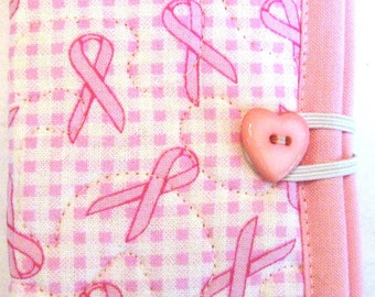 Pink Ribbons Needle Case or Pierced Earring Case