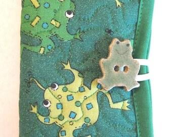 Frogs Needle Case or Pierced Earring Travel Case