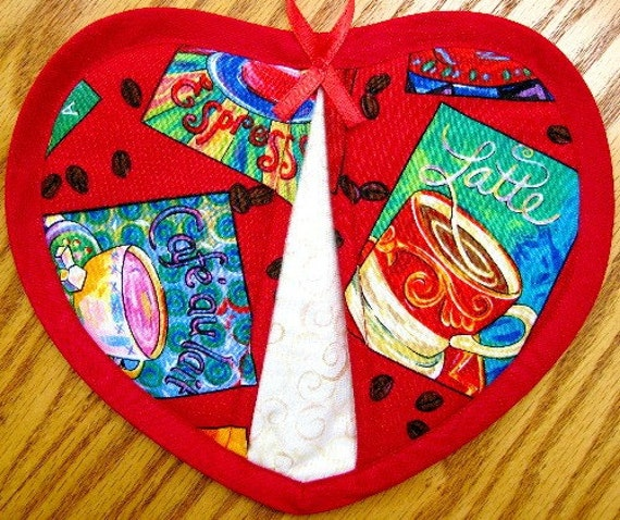 Quilted Potholder Heart Coffee Handmade Cotton Fabric Trivet Pot Holder Quilted For Her Mom Gift Housewarming Gift 2 Set